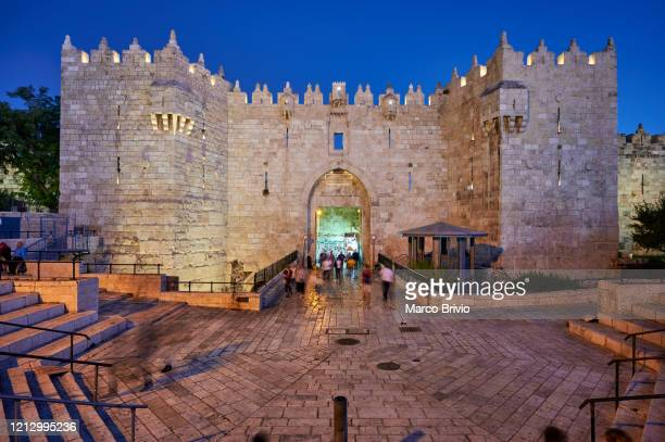 jerusalem israel. damascus gate to the old city - marco brivio stock pictures, royalty-free photos & images