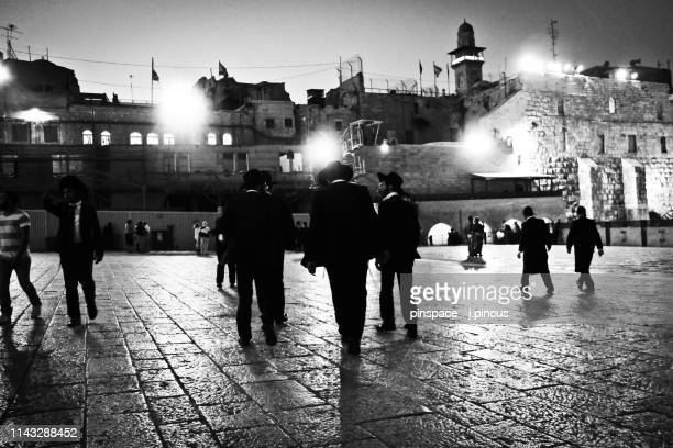 jerusalem kotel night scene - israel stock pictures, royalty-free photos & images