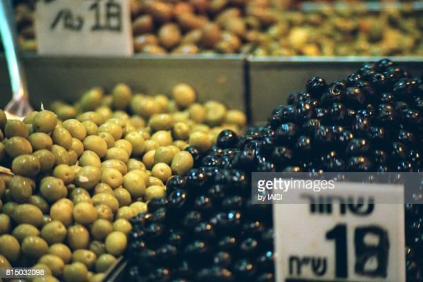 Jerusalem, Mahane Yehuda market, close-up of green and black olives