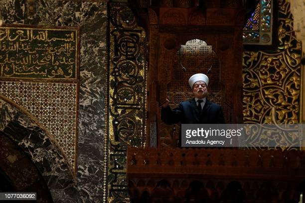 Jerusalem Mufti Sheikh Muhammad Hussein conducts Friday sermon during the Friday prayer at AlAqsa Mosque Compound in Jerusalem on January 04 2019