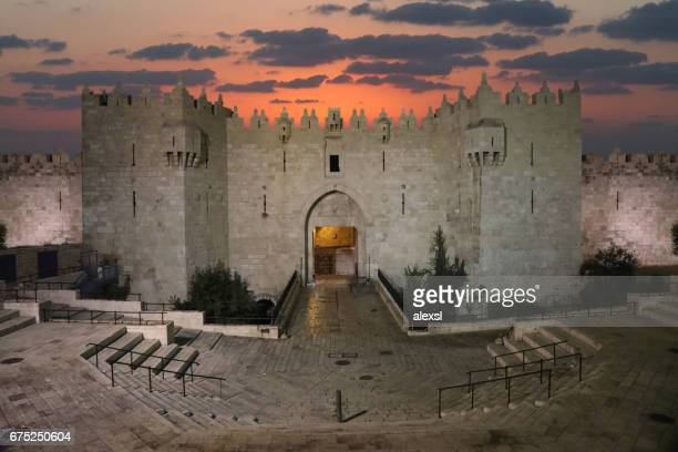 Jerusalem old city Damascus Gate aerial view sunset