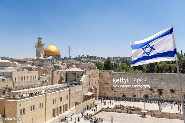 jerusalem, old city, israel - israel flag stock pictures, royalty-free photos & images