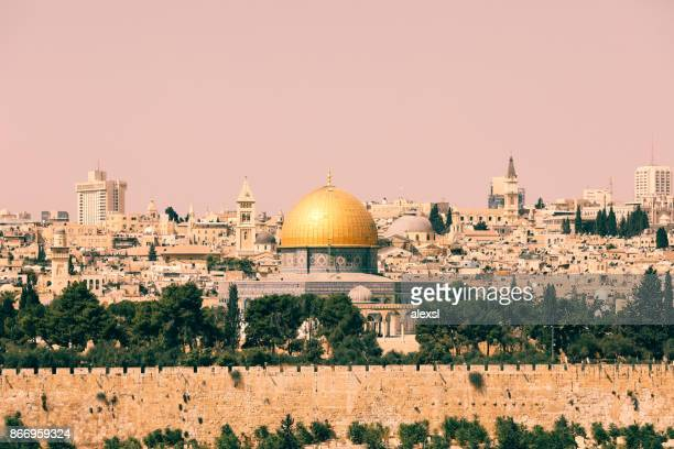 jerusalem old city panoramic aerial view - israel stock pictures, royalty-free photos & images