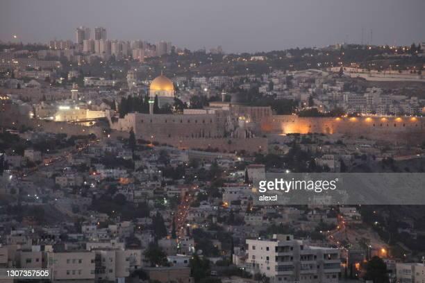 エルサレム旧市街のスカイラインパノラマ空中写真 - イスラエルパレスチナ問題 ストックフォトと画像