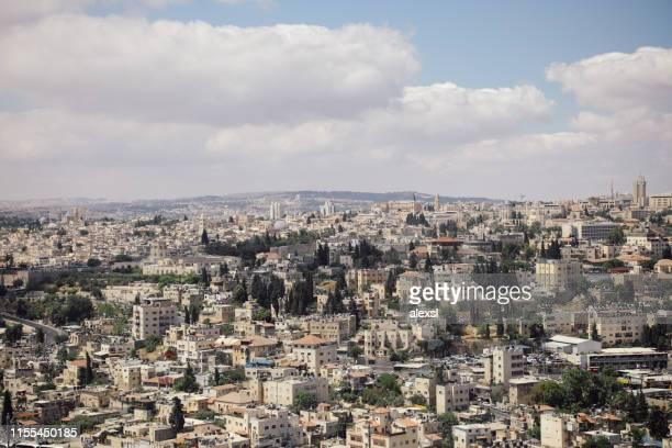 jerusalem old city skyline - gerusalemme foto e immagini stock