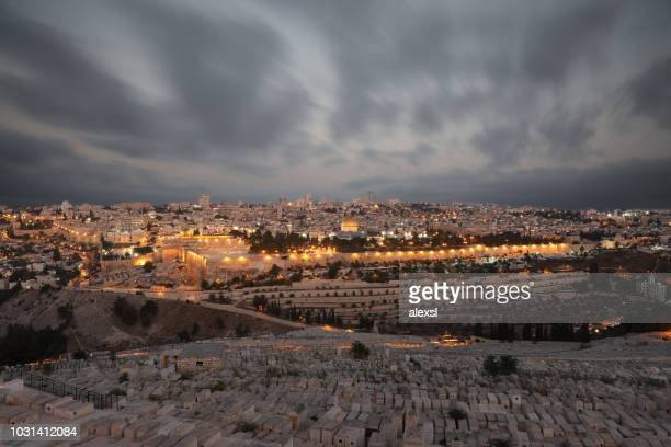 jerusalem old city sunset night aerial view - territori palestinesi foto e immagini stock