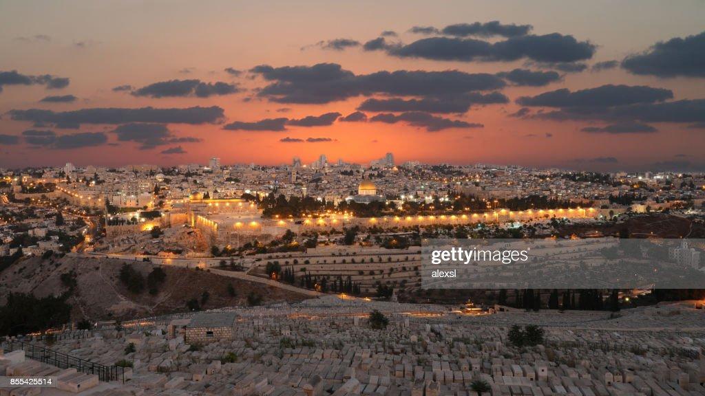 Jerusalem old city sunset night aerial view : Stock Photo