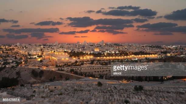 jerusalem old city sunset night aerial view - jerusalem old city stock pictures, royalty-free photos & images