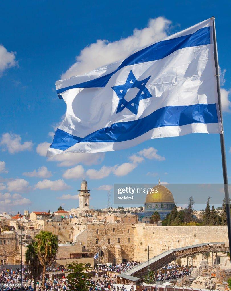 Jerusalem old city Western Wall with Israeli flag : Stock Photo