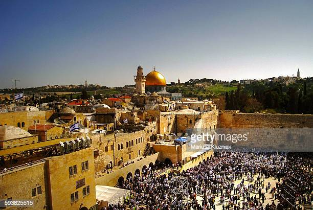 Jerusalem old town Western Wall and Blue Mosque