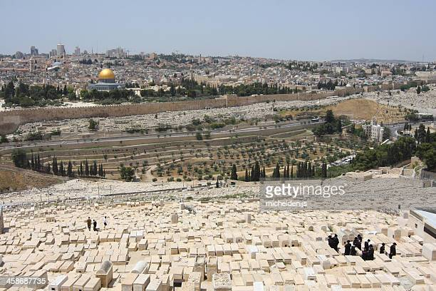 jerusalem skyline from mount of olives - mount of olives stock photos and pictures