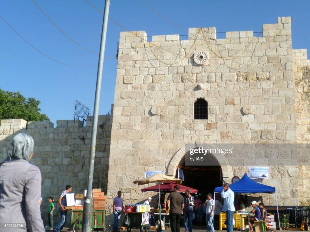 Jerusalem, street scene at Herod's Gate or Gate of Flowers : Stock Photo