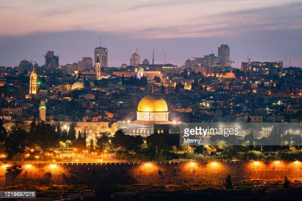 jerusalem sunset twilight temple mount at night israel - palestinian stock pictures, royalty-free photos & images
