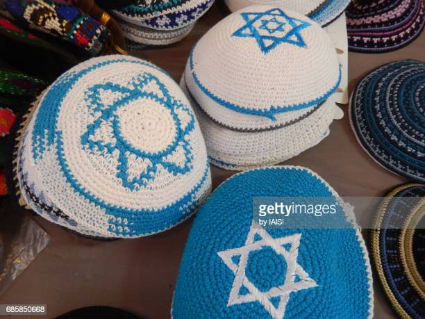 Jerusalem, three kipas / yarmulke with the star of David and the colors of Israel, blue/white