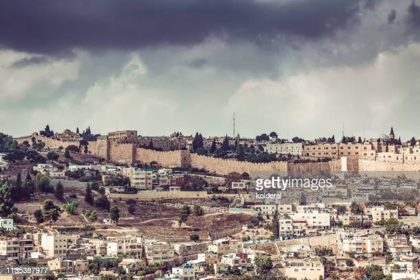 jerusalem under dramatic sky - israel stock pictures, royalty-free photos & images