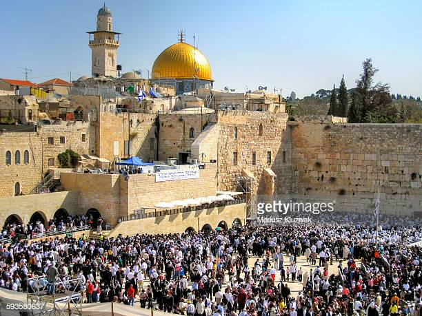 jerusalem western wall and al-aqsa mosque - al haram mosque stock photos and pictures