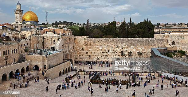 jerusalem western wall panorama - wailing wall stock pictures, royalty-free photos & images