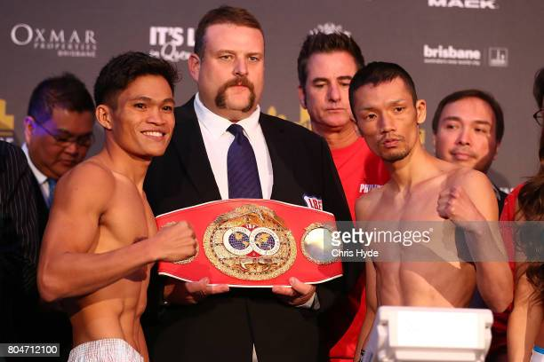 Jerwin Ancajas and Teiru Kinoshita face off during the weigh in ahead of their title fight on the undercard of Jeff Horn and Manny Pacquiao at...