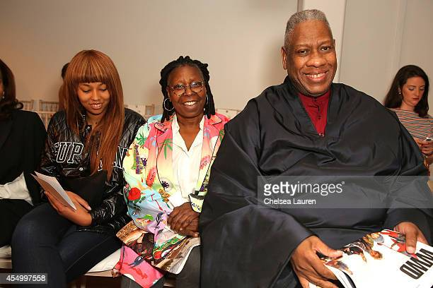 Jerzey Dean Whoopi Goldberg and André Leon Talley attend the Zac Posen fashion show during MercedesBenz Fashion Week Spring 2015 on September 8 2014...