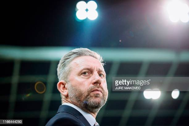Jerzy Brzeczek, head coach of Poland looks on prior to the Euro 2020 qualifying football match between Slovenia and Poland at the Stadium Stozice in...