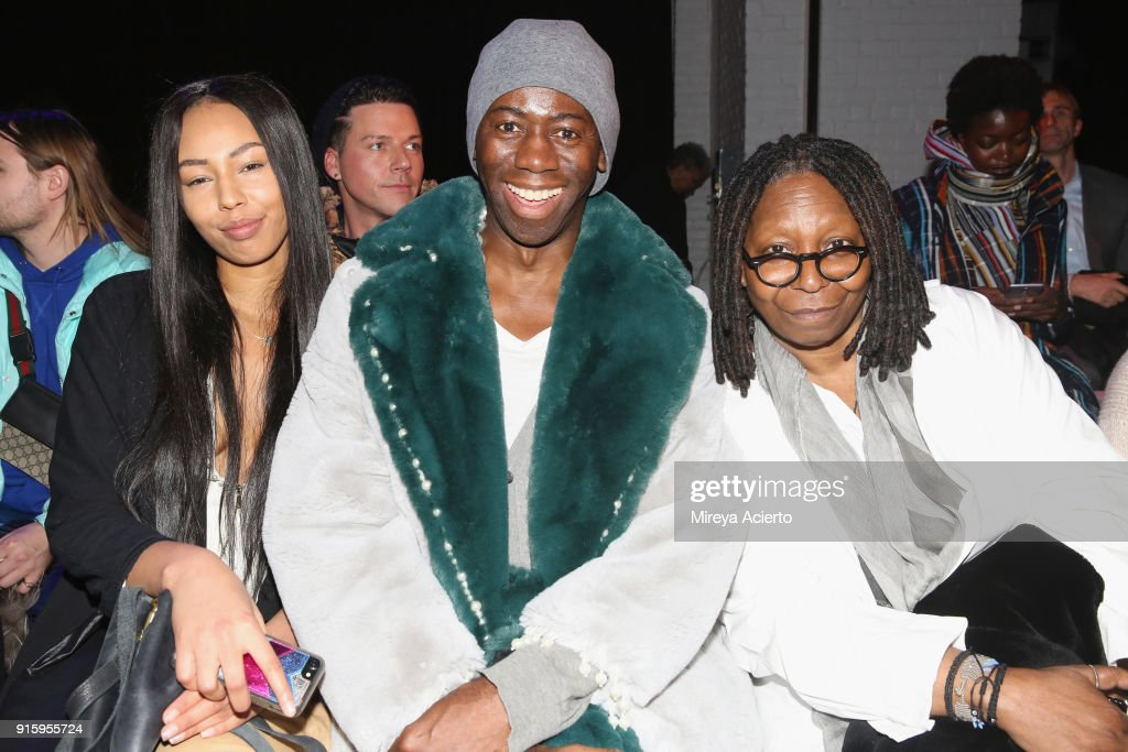 Jerzy Dean, J. Alexander, and Whoopi Goldberg attend the Ceremony: Xuly.Bet x Mimi Prober x Hogan McLaughlin front row during New York Fashion Week presented by First Stage at Industria Studios on February 8, 2018 in New York City.