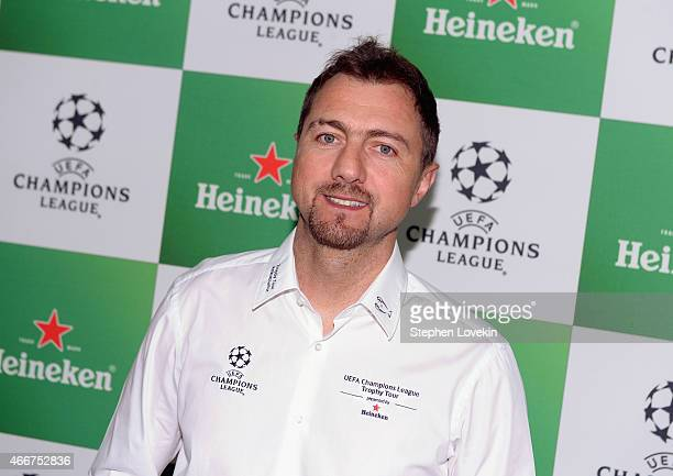 Jerzy Dudek attends the VIP launch party for the UEFA Champions League Trophy Tour Presented by Heineken at Skylight Modern on March 18, 2015 in New...