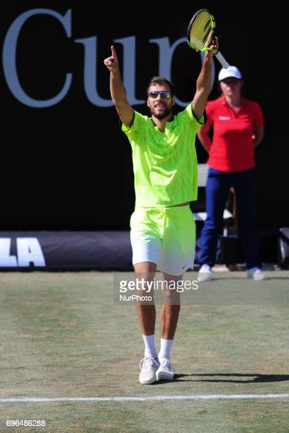 Jerzy Janowicz cheers after winning against Grigor Dimitrov in the round of eight of the Mercedes Cup in Stuttgart Germany on June 15 2017
