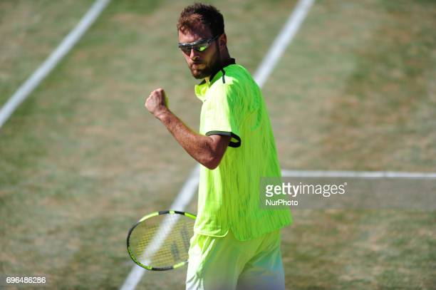 Jerzy Janowicz cheers during a match against Grigor Dimitrov in the round of eight of the Mercedes Cup in Stuttgart Germany on June 15 2017