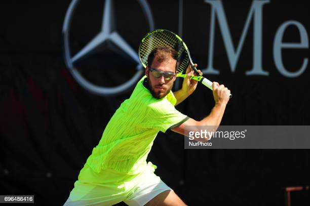 Jerzy Janowicz during a match against Grigor Dimitrov in the round of eight of the Mercedes Cup in Stuttgart Germany on June 15 2017