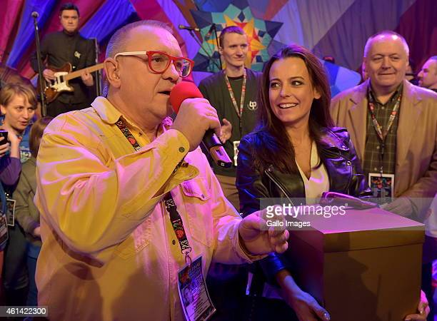 Jerzy Owsiak and Anna Mucha attend the 23rd final of WOSP on January 11 2015 at TVP Headquarters in Warsaw Poland Annual WOSP found raising is the...