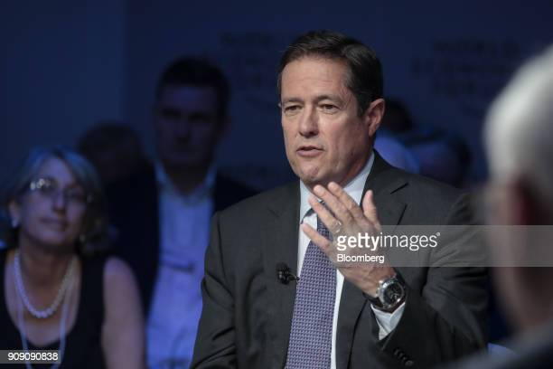 Jes Staley chief executive officer of Barclays Plc gestures as he speaks during a panel session on the opening day of the World Economic Forum in...