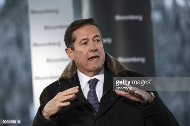 Jes Staley chief executive officer of Barclays Plc gestures as he speaks during a Bloomberg Television interview on day three of the World Economic...