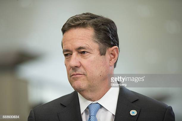 Jes Staley chief executive officer of Barclays Plc pauses during a Bloomberg Television interview at the European financial services conference in...