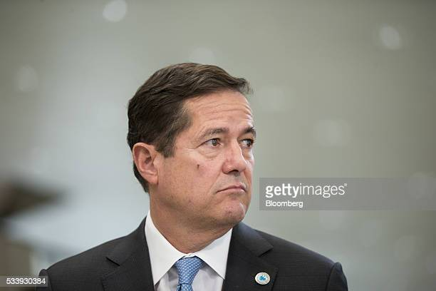 Jes Staley chief executive officer of Barclays Plc poses for a photograph ahead of a Bloomberg Television interview at the European financial...