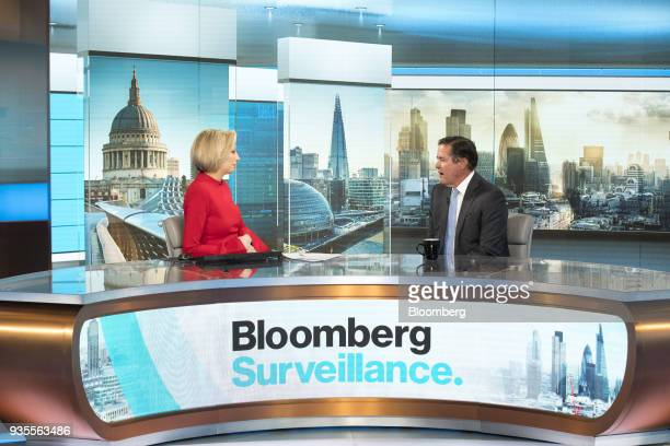 Jes Staley chief executive officer of Barclays Plc right speaks to Francine Lacqua editor at large and anchor for Bloomberg Television during a...