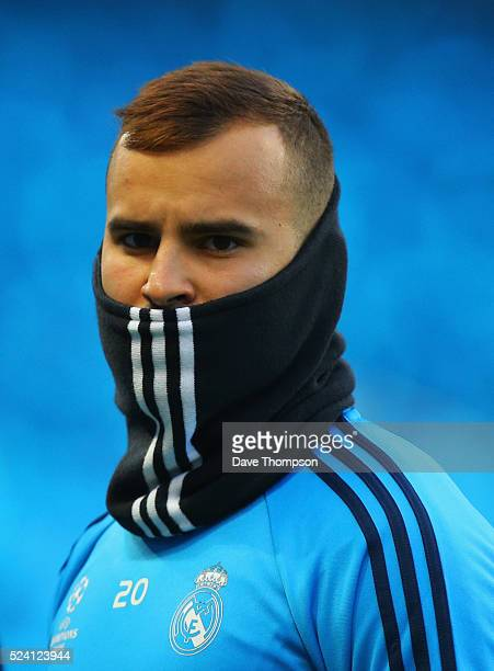 Jese looks on during a Real Madrid training session on the eve of their UEFA Champions League semi final first leg match against Manchester City at...