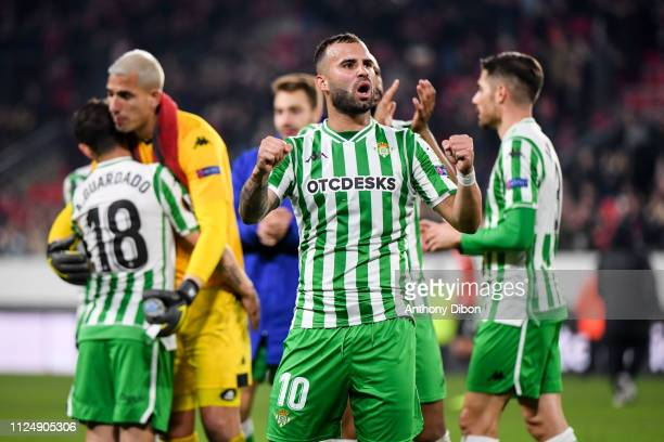Jese of Real Betis celebrates with fans during the UEFA Europa League Round of 32 First Leg match between Rennes and Real Betis at Roazhon Park on...