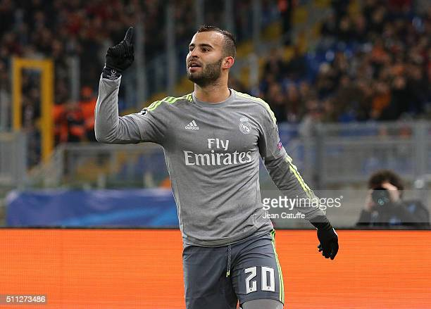 Jese of Real Madrid celebrates his goal during the UEFA Champions League round of 16 first leg match between AS Roma and Real Madrid CF at Stadio...