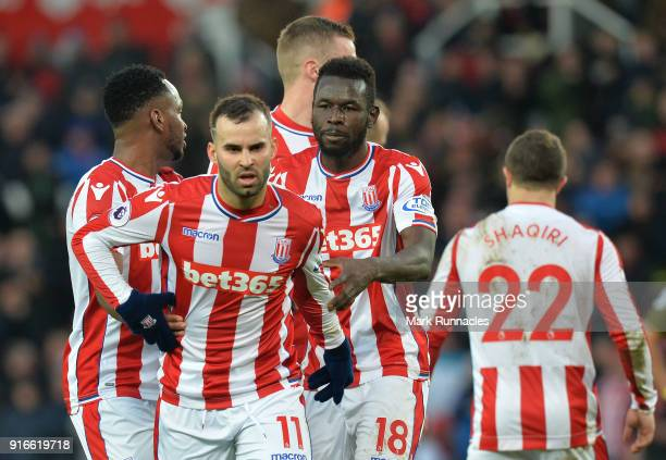 Jese of Stoke City argues with his team mates over who will take the penalty in the final moments of the game during the Premier League match between...