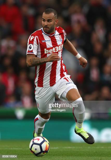 Jese of Stoke City runs with the ball during the Premier League match between Stoke City and Arsenal at Bet365 Stadium on August 19 2017 in Stoke on...