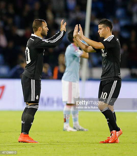 Jese Rodriguez and James Rodriguez of Real Madrid celebrate after scoring during the La Liga match between Celta de Vigo and Real Madrid CF at...