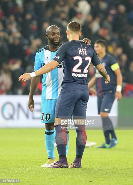Jese Rodriguez of Paris SaintGermain react with Lassana Diarra of Olympique de Marseille during the French Ligue 1 match between Paris SaintGermain...