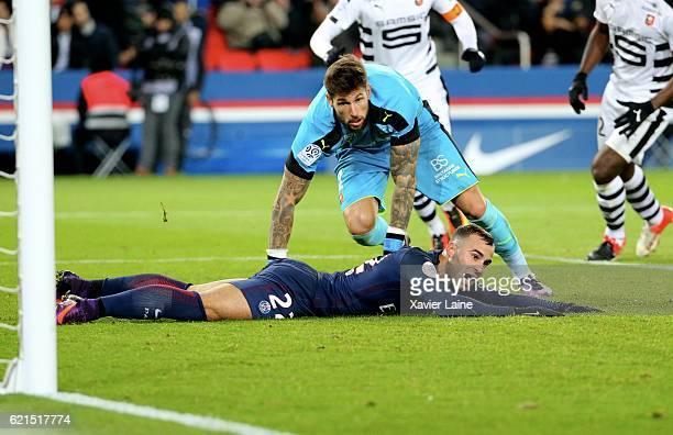Jese Rodriguez of Paris SaintGermain reacts during the French Ligue 1 match between Paris SaintGermain and Stade Rennes FC at Parc des Princes on...