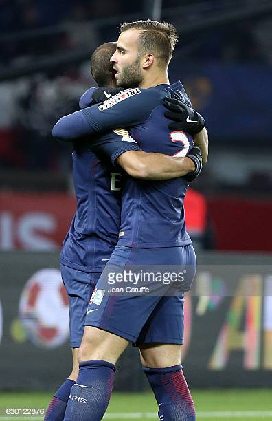 Jese Rodriguez of PSG celebrates his goal with Lucas Moura during the French League Cup match between Paris SaintGermain and Lille OSC at Parc des...