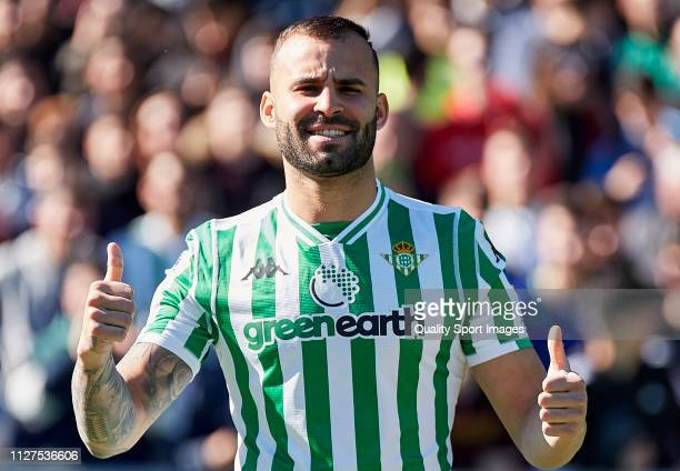 Jese Rodriguez of Real Betis poses during his unveiling at Estadio Benito Villamarin on February 05 2019 in Seville Spain