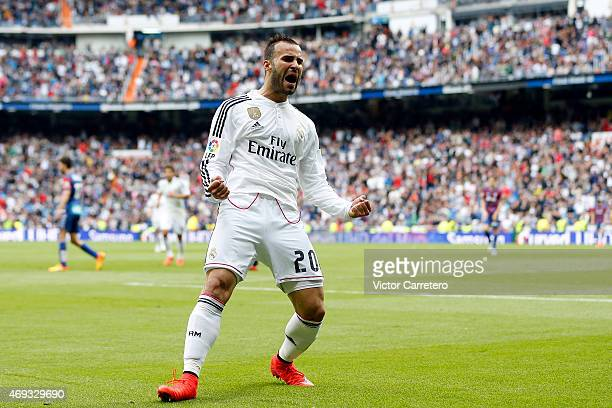 Jese Rodriguez of Real Madrid celebrates after scoring his team's third goal during the La Liga match between Real Madrid CF and Eibar at Estadio...