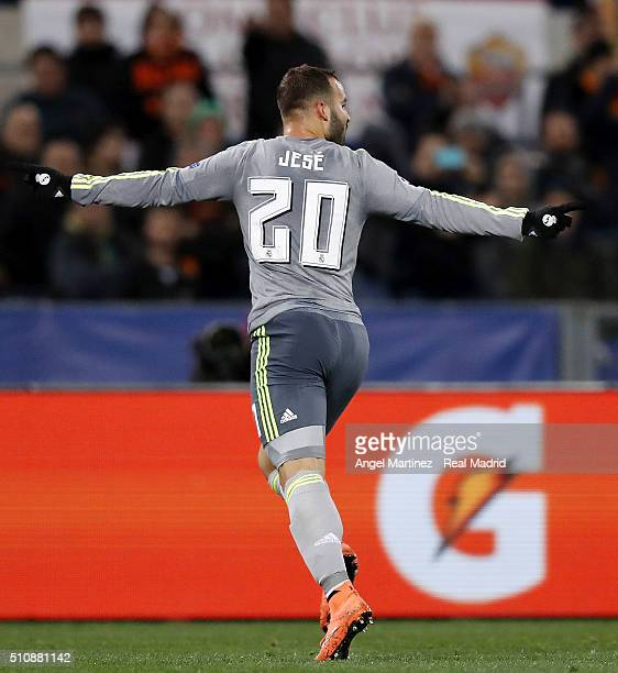 Jese Rodriguez of Real Madrid celebrates after scoring his team's second goal during the UEFA Champions League Round of 16 First Leg match between AS...