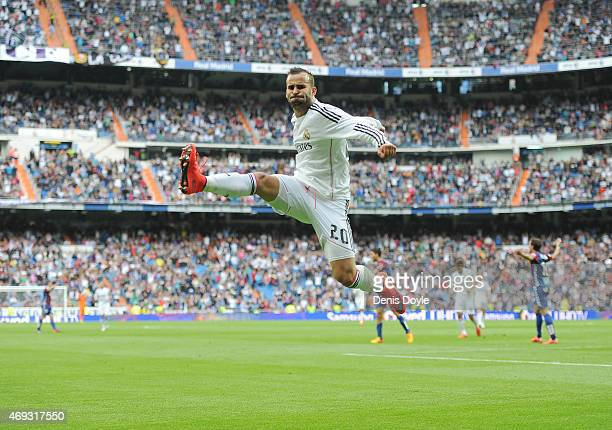 Jese Rodriguez of Real Madrid celebrates after scoring Real's 3rd goal from a free kick during the La Liga match between Real Madrid and Eibar at...