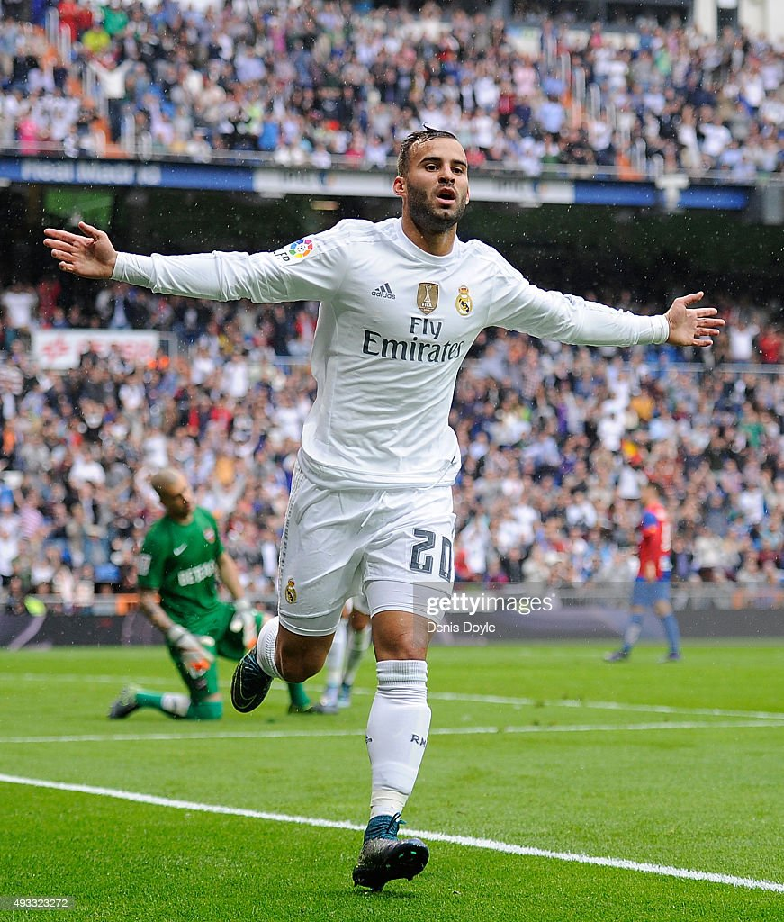 Jese Rodriguez of Real Madrid celebrates after scoring Real's 3rd goal during the La Liga match between Real Madrid CF and Levante UD at estadio Santiago Bernabeu on October 17, 2015 in Madrid, Spain.