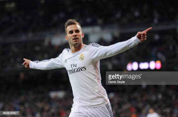 Jese Rodriguez of Real Madrid CF celebrates after scoring Real's opening goal during the Copa Del Rey Quarter Final 2nd leg match between Real Madrid...